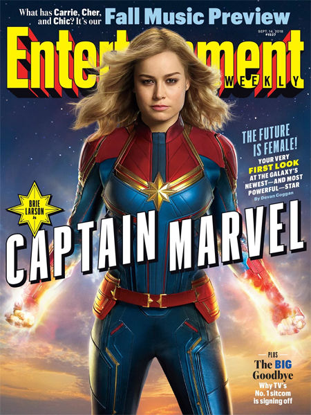 image of the cover of the latest issue of Entertainment Weekly magazine, featuring Brie Larson as Captain Marvel