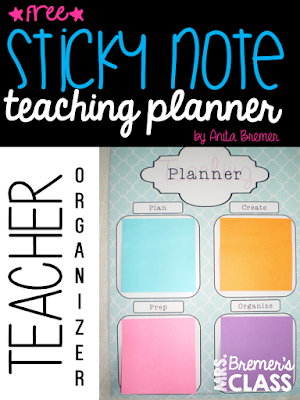 FREE Sticky note teacher planner