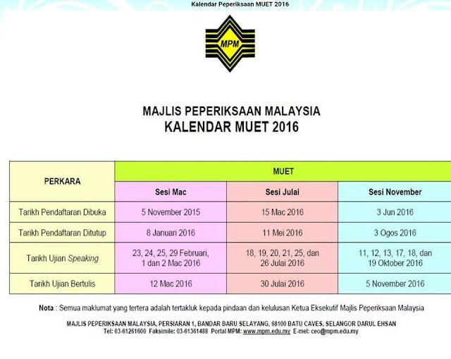 jadual Peperiksaan MUET 2016 MPM