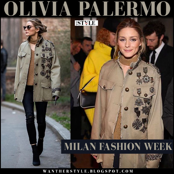 Olivia Palermo in green canvas embellished jacket, skinny black jeans and brown sunglasses fendi what she wore milan fashion week