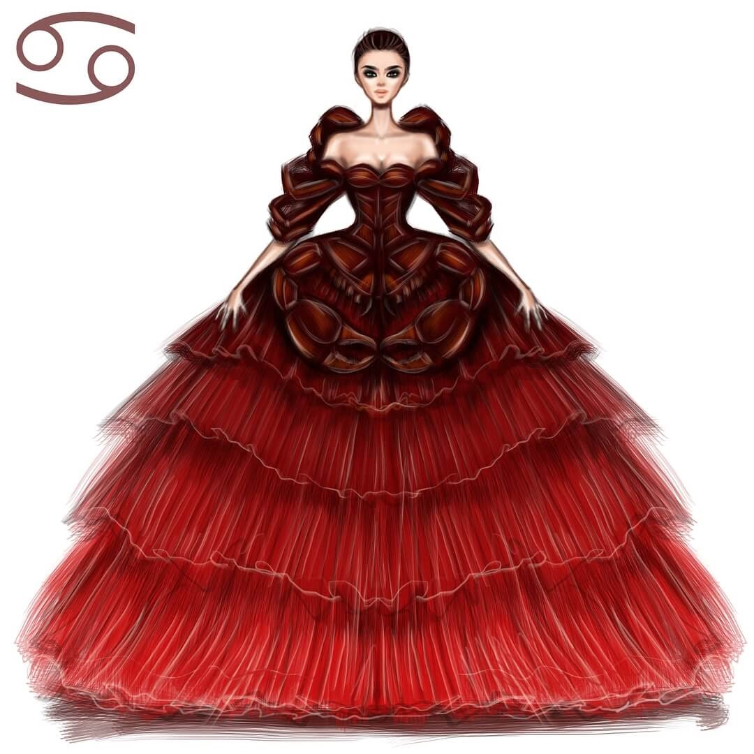 04-Cancer-Shamekh-Bluwi-Zodiac-Haute-Couture-Exquisite-Fashion-Drawings-www-designstack-co