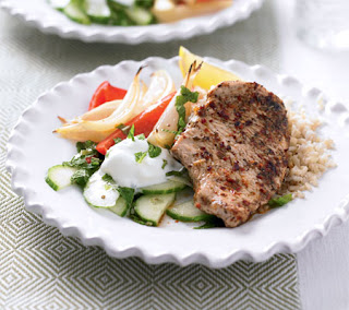 pork souvlaki with grilled vegetables recipe
