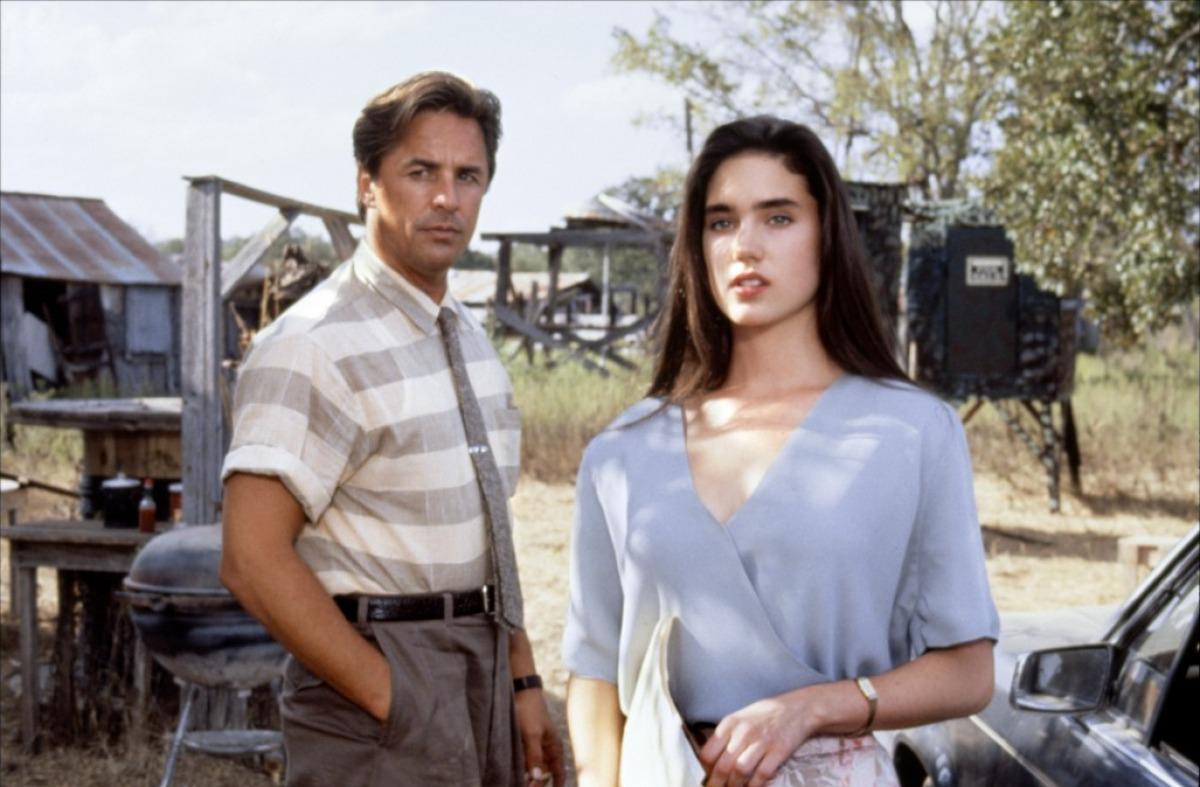 "Don Johnson and Jennifer Connelly ""The Hot Spot"" 1990 animatedfilmreviews.blogspot.com"