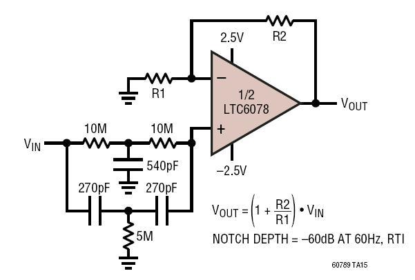 60hz notch filter the circuit