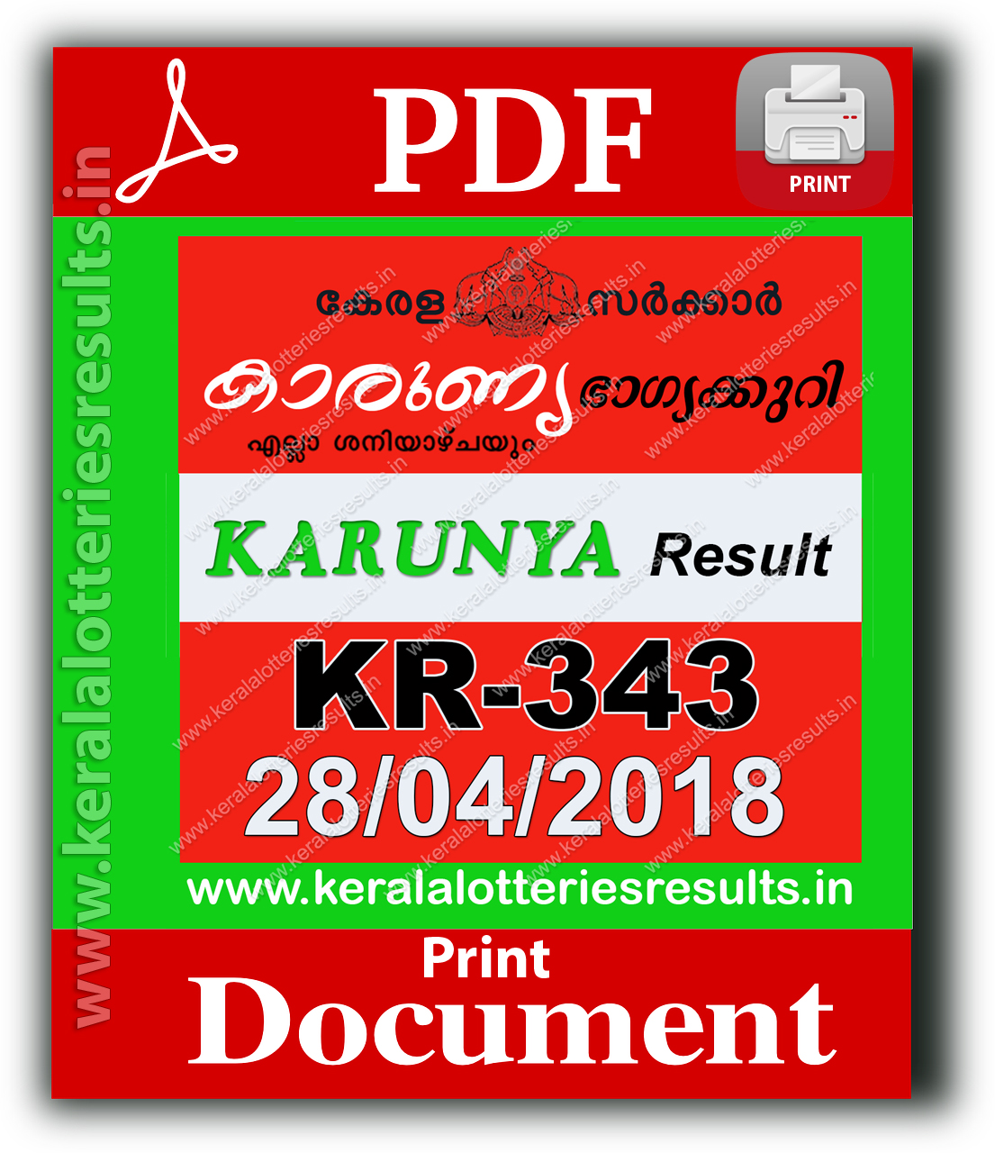 Kerala Lottery 28 04 2018: Karunya KR 343 Lottery Results Official
