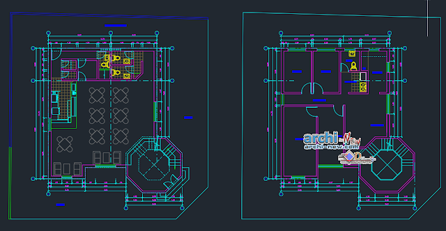Project office with cafeteria in AutoCAD