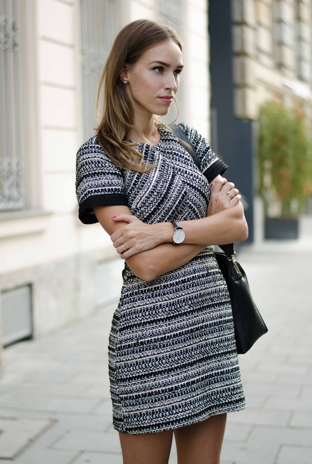 kristjaana mere hm mini dress daniel wellington watch fall outfit munich street style