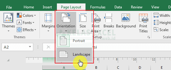 Mengubah orientasi halaman excel