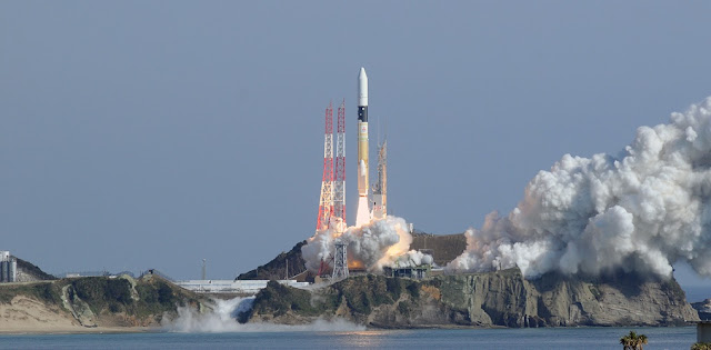 An HII-A rocket carrying GCOM-C1 and SLATS satellites launches from Tanegashima Space Center on December 23. Photo Credit: Mitsubishi Heavy Industries, Ltd./JAXA