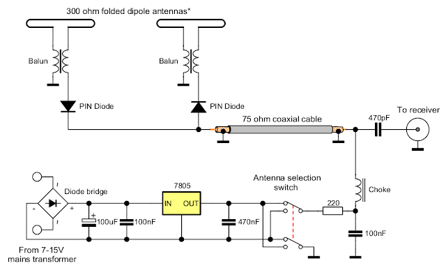 Antenna switch with PIN diodes schematic
