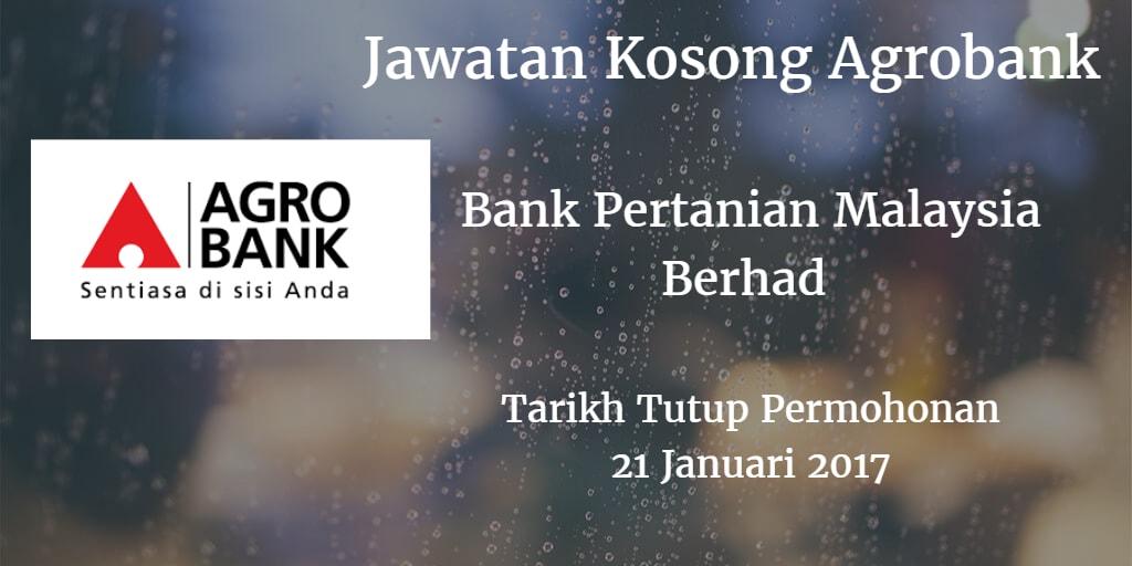 Jawatan Kosong Agrobank 21 Januari 2017