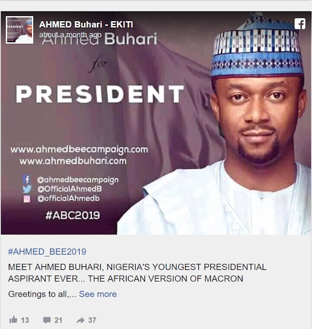 2019: Another Buhari, 39yrs Joins Presidential Race ...See His Campaign Ideology, Posters