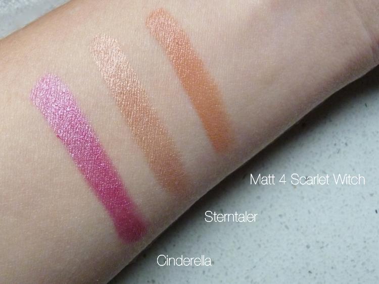 Cremekampagne Lippenstifte Swatches: Matt 4 Scarlet Witch, Sterntaler und Cinderella