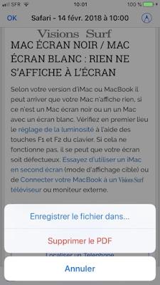 Emplacment du PDF converti sur Safari