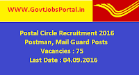 Postal Circle Recruitment 2016