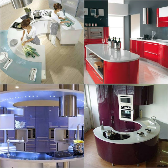 Elegant Modern Round Countertop Kitchen Interior Designs