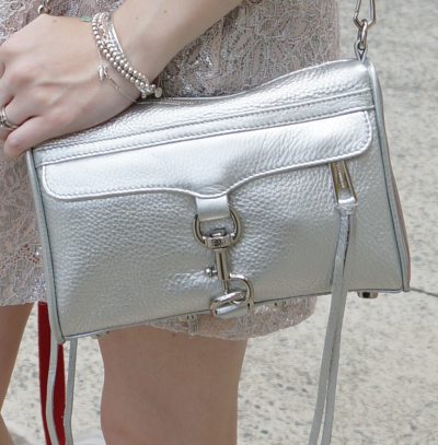 rebecca minkoff metallic silver mini MAC bag