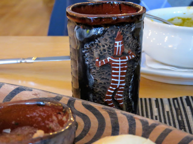 Cup with Selk'nam imagery at Afrigonia Restaurant in Puerto Natales Chile