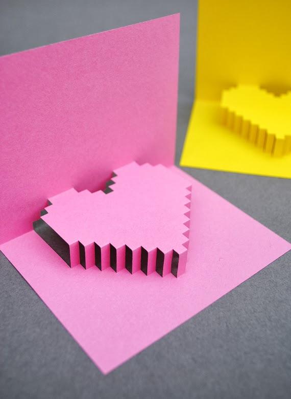 tarjeta  Pop Up de corazón pixelado