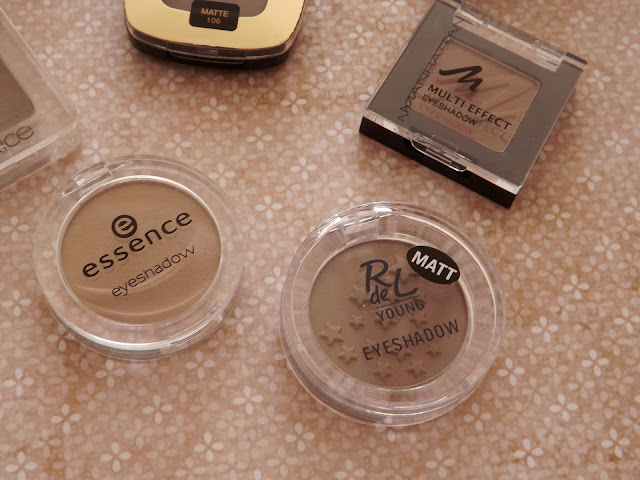 3 - Manhattan Multi Effect Eyeshadow in 95R Mad Maroon  4 - essence eyeshadow in 15 hazel me not!  5 - Rival de Loop Young Eyeshadow in 05 I love Toffee
