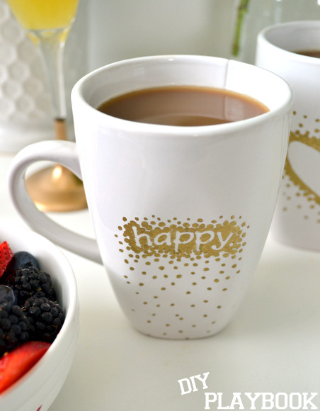 gold happy mug