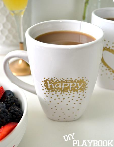 gold happy mug