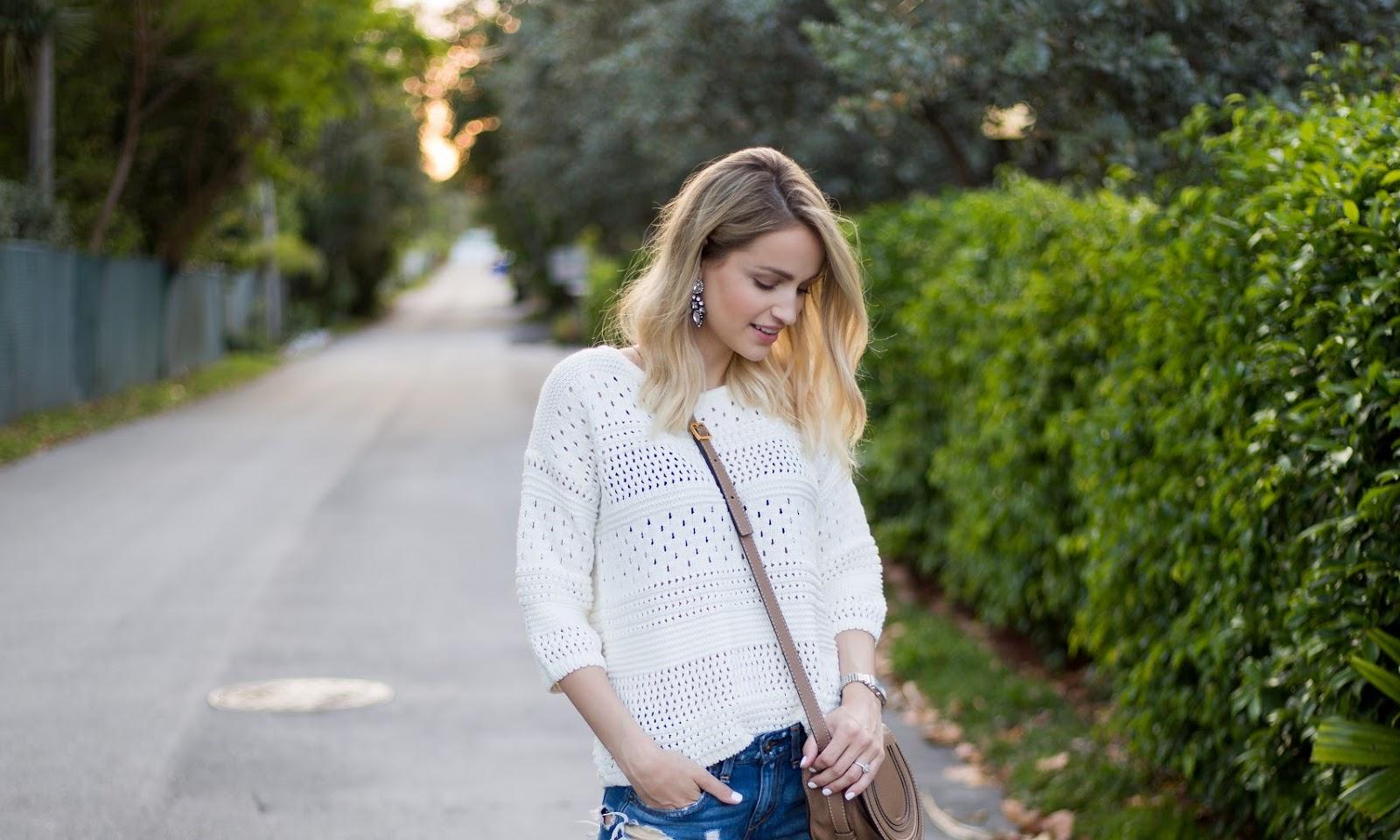 Open Knit Sweater & Boyfriend Shorts