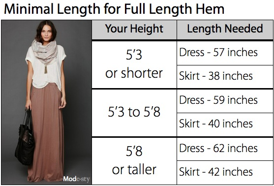 Skirt Length According to Height