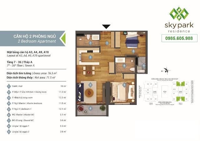 Thiết kế  mặt bằng căn hộ A3- A4 - A9 - A10
