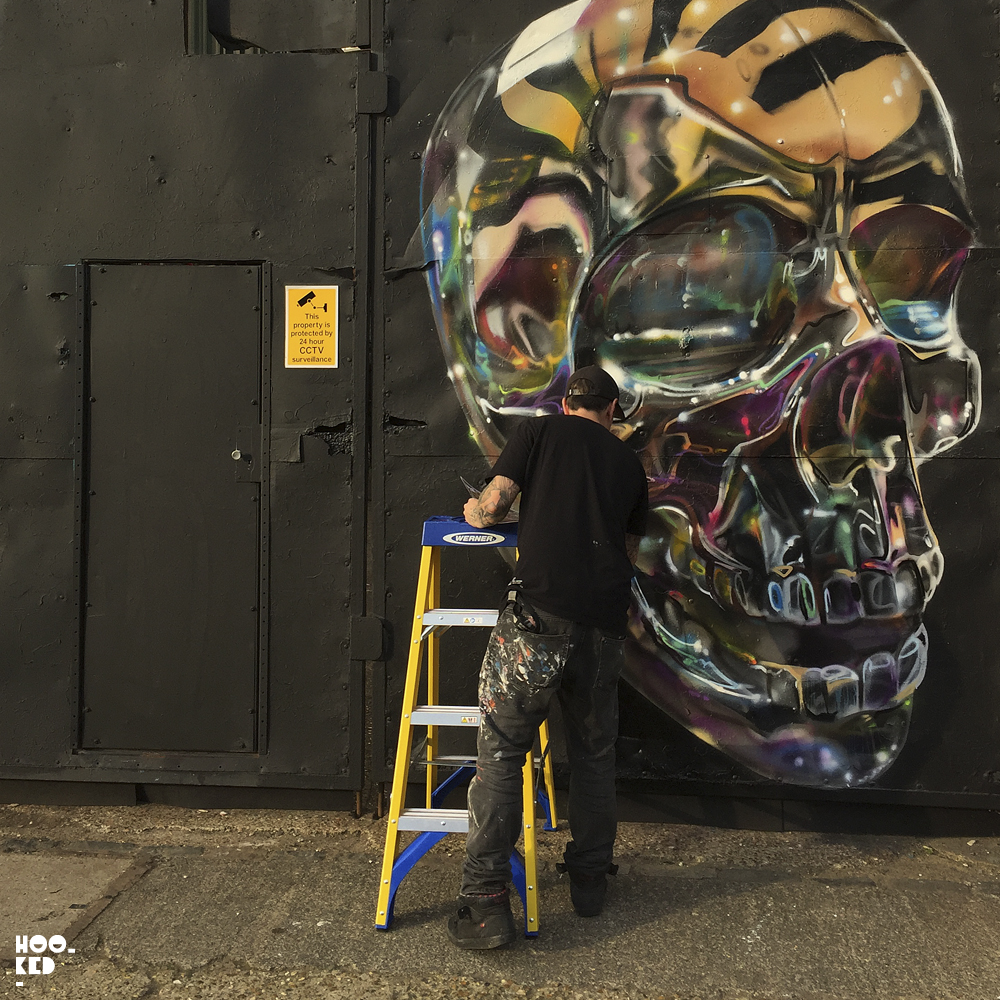 Fanakapan, Street Art Skull Mural in East London.