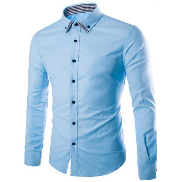 Plaid Spliced Slimming Long Sleeve Shirt- Blue 2xl