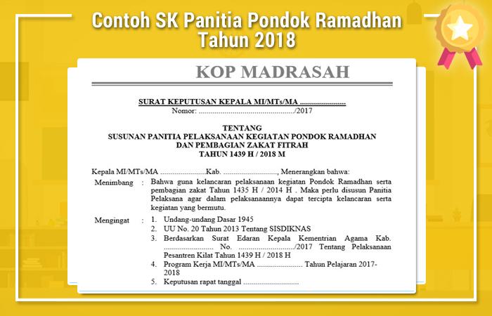 Contoh SK Panitia Pondok Ramadhan Tahun 2018