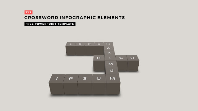 Crossword Puzzles Infographic Elements with 7x7 User's Input for PowerPoint Templates