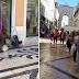 Artista de rua dá espetáculo em Lisboa