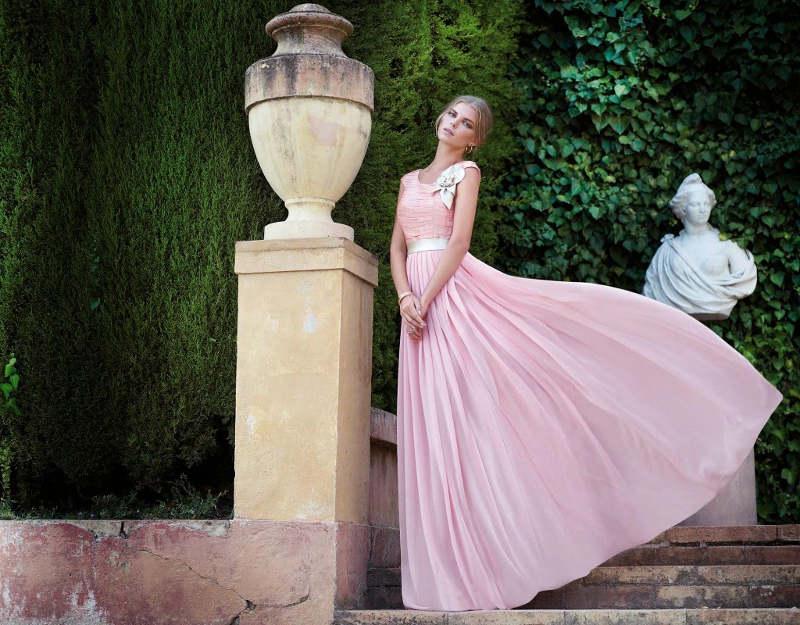 vestido rosa palo largo invitada boda