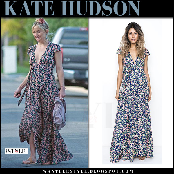 Kate Hudson in floral print maxi dress what she wore april 2017