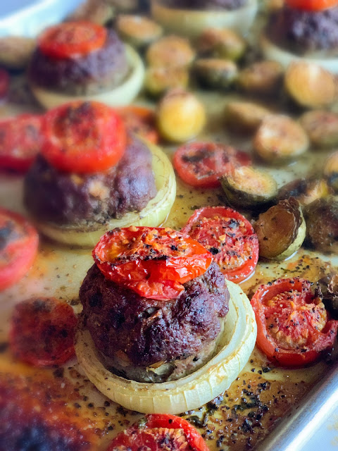 Mini Tomato Basil Meatloaves, portion control extra lean hamburger mixed with fresh tomatoes, minced basil, and chopped onions to make them healthy and delicious.