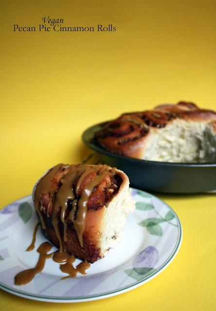 vegan pecan pie cinnamon rolls