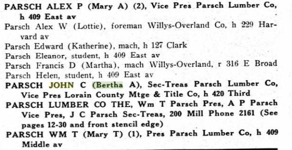 parsch lumber company 1923 elyria ohio