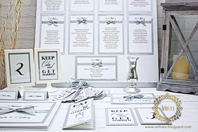 oryginalne klasyczne srebrno biale dodatki slubne artirea typu winietki menu księga gości czy zawieszki