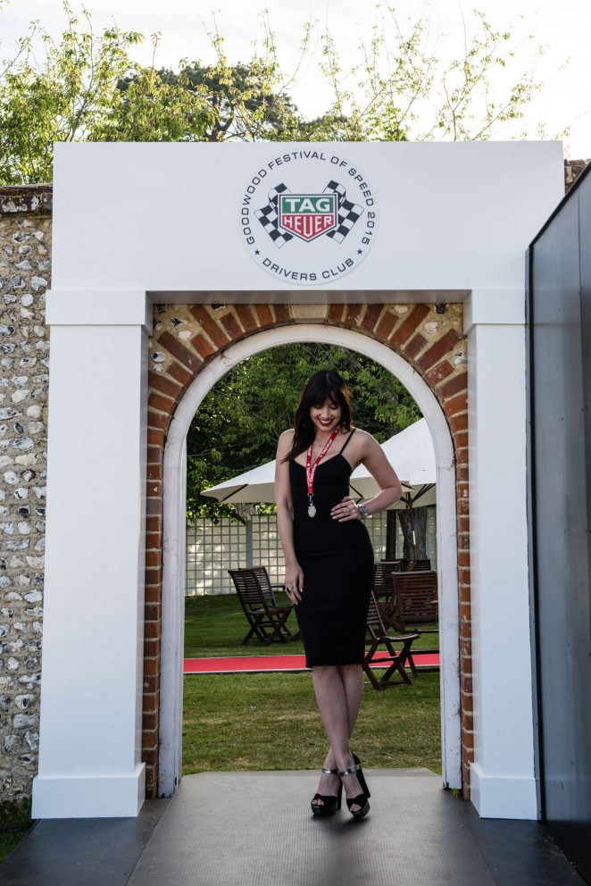 Daisy Lowe flashes skin in a black dress at the Goodwood Festival of Speed n Chichester