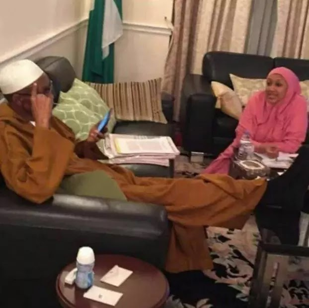 Muhammadu Buhari with his daughter, Hadiza