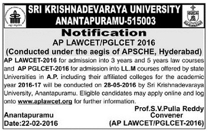 AP LAWCET 2017 Online Application APLAWCET Notification