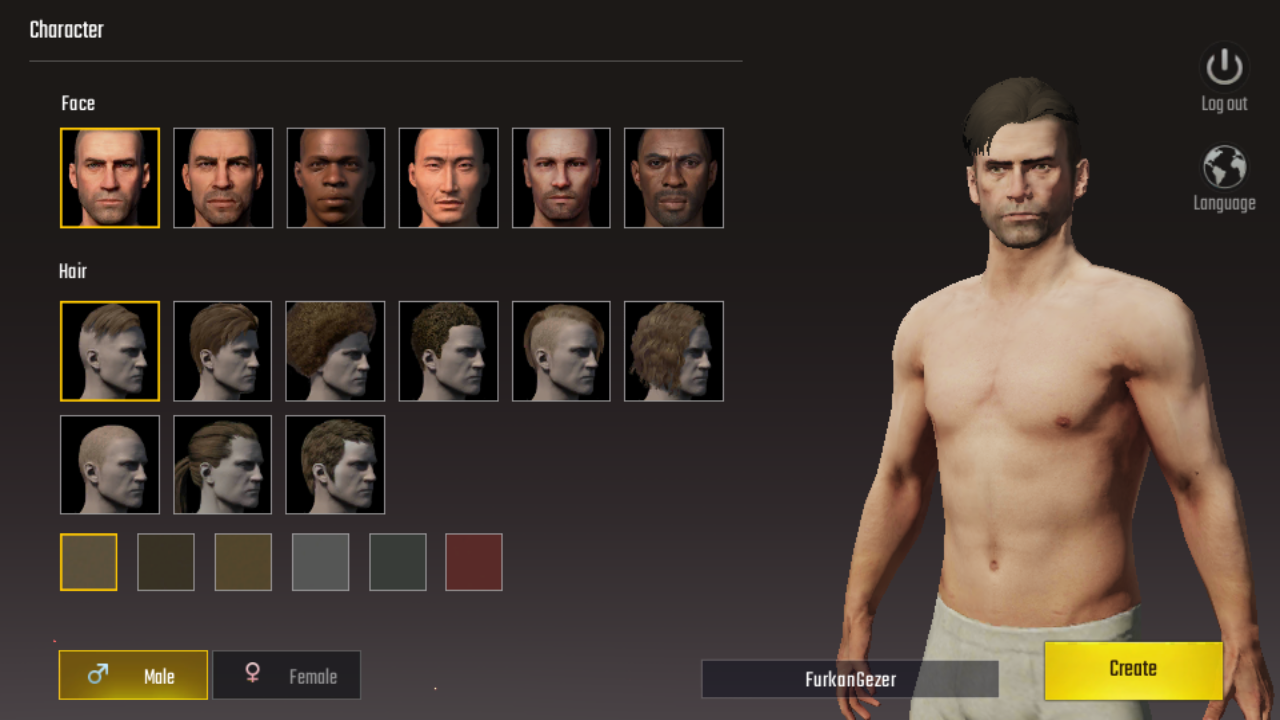 pubg mobile karakter yaratma ekranı