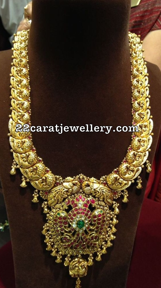 Peacock Nakshi Haar Ruby Pakshi Pendant