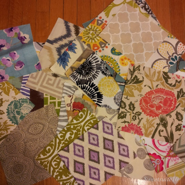 square fabric samples in a pile
