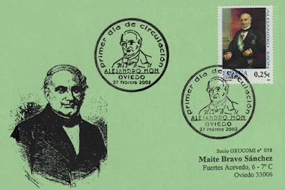 Tarjeta del matasellos PDC del sello dedicado a Alejandro Mon