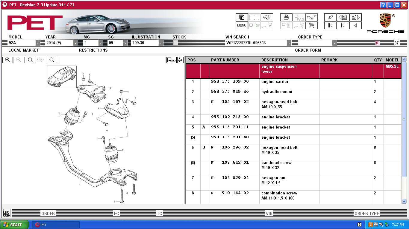 porsche pet catalog  porsche  auto parts catalog and diagram