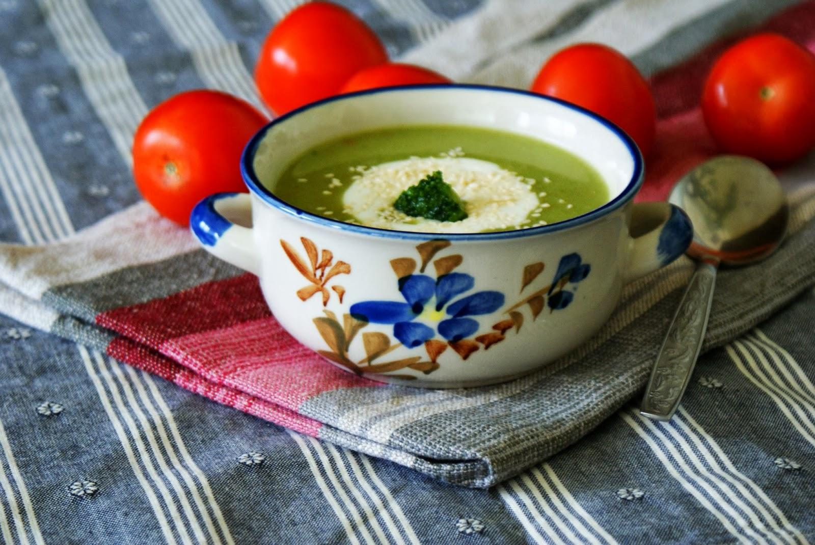 Zupa krem z groszku i brokułów