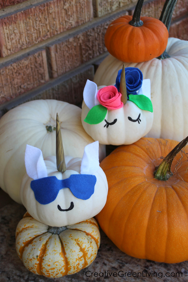 How to make cute unicorn pumpkins without carving.
